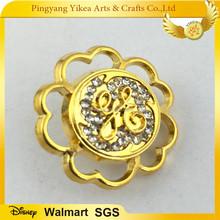 Golden lapel pins with diamond