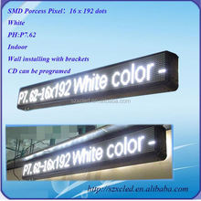 Pitch P7.62 LED moving message white programmable led sign