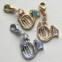 Hot Selling!! Beautiful Rhinestones gold and silver trumpet pendant hanging charms
