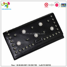 2014 fashionable long style genuine purse with rivets for ladies evening fashion ball and party