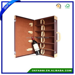 Leather Wine Carrier/Custom leather wine box for Six bottles