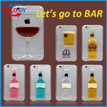 New Fashion TPU Wine Glass Phone case for iPhone 6 plus,for iphone 6 plus case, liquid back cover for iPhone 6 plus case
