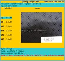 Perforated neoprene SBR CS CR breathable with holes airprene embossed rubber shark skin