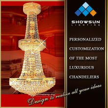 Zhongshan trapezoidal shape crystal chains hall large chandelier