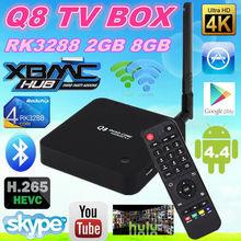 android tv box Q8 RK3288 Tv Box High Quality Q8 Tv Box Q8 H.265, 2GB/8GB, Bluetooth 4.4 decoder box cable tv