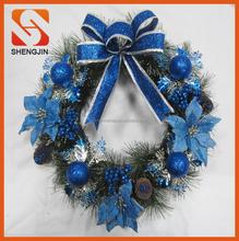 "SJ-6570 22"" Christmas Holiday bow Poinsettia Pine Wreath blue green ornaments"