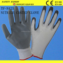 Cheap 13g polyester nitrile gloves grey for oil field working gloves
