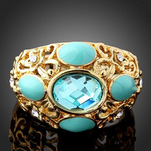 Fashion green gemstone gold ring four turquoise one crystal big copper ring
