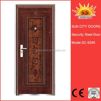 High quality cheap single leaf swing exterior steel security door SC-S045