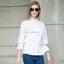 HJC-C8358 Veri Gude 2015 Women's fashion mandarin collar flare sleeve cotton shirt