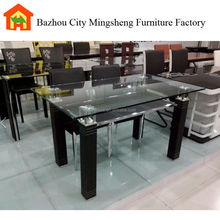 new product MINGSHENG two tiers home furniture metal dining table glass table