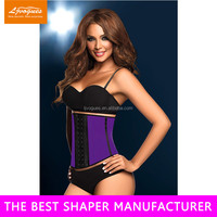 sauna body shaper of waist training corsets with 100% natrual rubber material and memory alloy steel boned