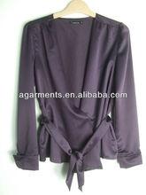 zhejiang nignbo elegante señoras cinturón de raso de oficina camisa blusa