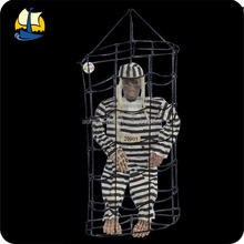 scary priosoner zombie in a cage Halloween Decoration