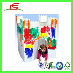 Q1356 Castle Art Drawing Hand Writing Paint Color Decorate Cardboard Houses For Kids