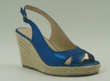 hot latest peep toe hemp rope jute wedge heel women wedge sandals