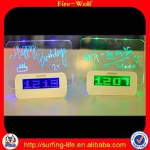 3D Crystal Laser Engraving Gifts led message board alarm clock China Digital Wall Clock Factory