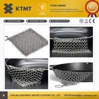 KTMT stainless steel wire mesh chain curtain chainmail scrubber - extra large 7x7 & 8x6 inch cast iron cleaner maide in China