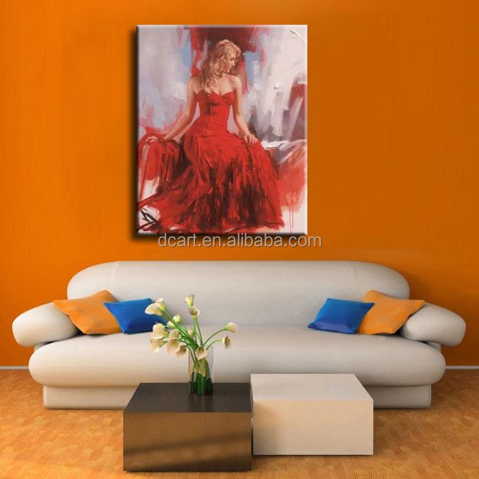 Mooi meisje olieverfschilderij met witte jurk met witte paraplu kunst aan de muur schilderen - Hoe kleed je een witte muur ...