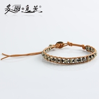 WPB097-WPB102 Fashion 1 Layer Wrap Bracelets Natural Stone Bead Leather Bracelets Couple Jewelry