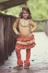 American style fall giggle moon remake girl outfits for children