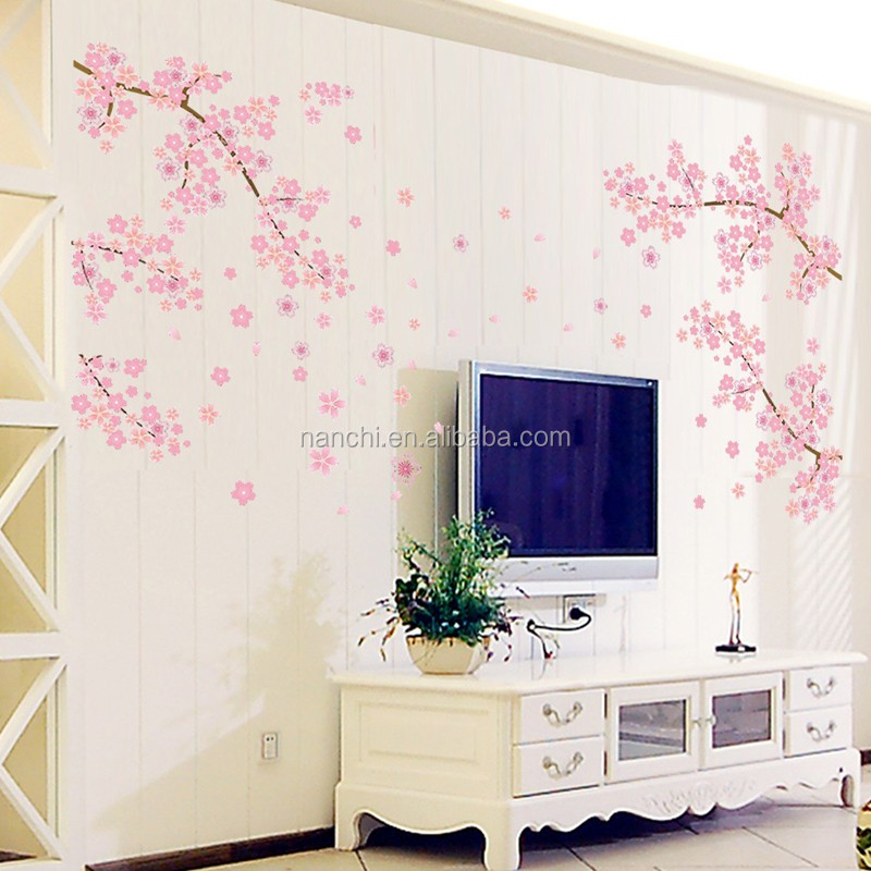 큰 우아한 매화 꽃 벽 스티커 우아한 복숭아 꽃 벽 스티커 가구 ...
