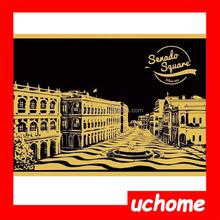 UCHOME Newest Scratch Night View,Lago Design Scratch Art Paper,Wholesales Scratch Art 3D Postcard With Pen