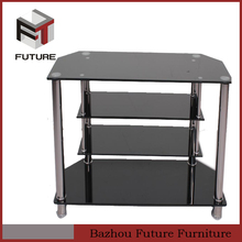 tempered glass metal frame moving tv stand