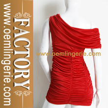 profondo rosso manica corta della moda signore vestito tubo