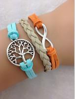 Endless life---Infinity symbol bracelet,tree of life bracelet,a retro silvery combined bracelet,1805 Min order 10$