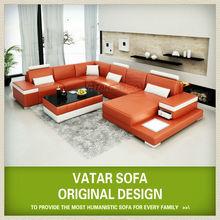 Vatar turco mobiliário sofá, sofá de couro laranja
