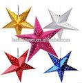 venta al por mayor de navidad colgando decoración led estrellas linternas de papel