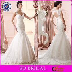 Elegant YH2599 Straps Sweetheart Lace Appliqued Key Hole Back Mermaid Wedding Gown