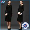 OEM Service Women Long Sleeve Classic winter Dress Lady European Style Pure Color Cotton Dress Woman Waist Collar Simple Dress