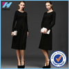 OEM Service Women Long Sleeve Elegant Classic Dress Lady European Grace Pure Color Cotton Dress Woman Waist Collar Pleated Dress