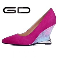 Classic latest ladies high wedge shoe for wedding