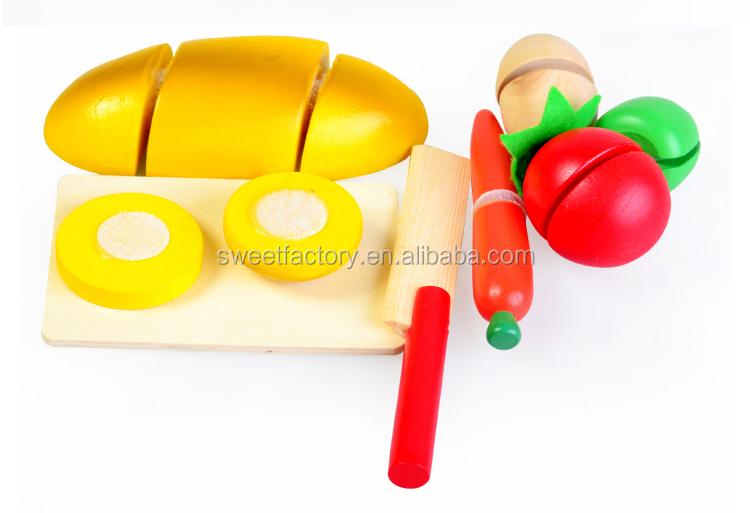 Beste koop houten keuken het snijden van fruit speelgoed set ...