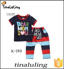 Kids Sleepwears Suits Cartoon Children's Sleeve Clothing sets boys Printing Pajamas Baby Writing Pijamas100%cotton