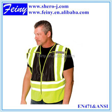 EN471 black/green high visibility reflective safety vest motorcycle
