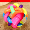 TOY-017 High Quality New Colorful Twisted Ball with Bell Cat Dog Pet Sound Toys Belt Bell Rainbow Ball