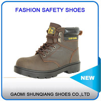 mid-ankle petrol work safety shoes, industrial brown safety boots with steel toe and mid sole