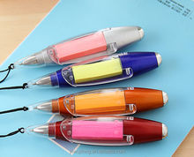New fashion high-grade metal color note lamp promotion ballpoint pen