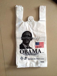 new material selling well promotional supermarket t shirt plastic bag with top grade printing