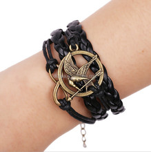 NEW Hot Catching Fire Bird Leather Cute Charm Bracelet Plated Gold DIY - the Hunger Game