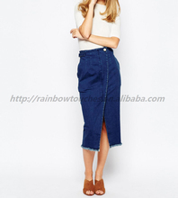 Hot 2015 Warehouse High Waisted Wrap Denim Skirt with Pearl Button
