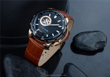 discount luxury brand cool watches with visible mechanism and geniune leather strap