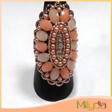 Elegant most popular well sale neatly arranged beads fashion ring zircon