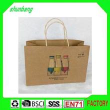 2015 hot sale printed flat bottom brown kraft paper shopping tote bag