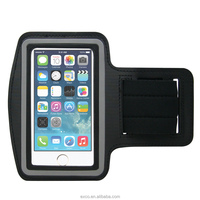 Fashion EXCO water resistance black PU sports armband case with fluorescent edge for 5'' phone