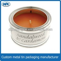 Round tin box with clear pvc window for candle